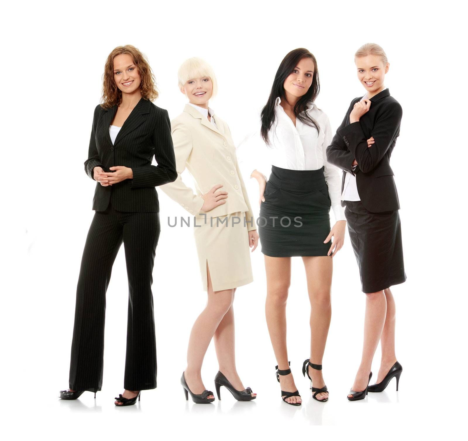 Group of successful business people isolated on white.