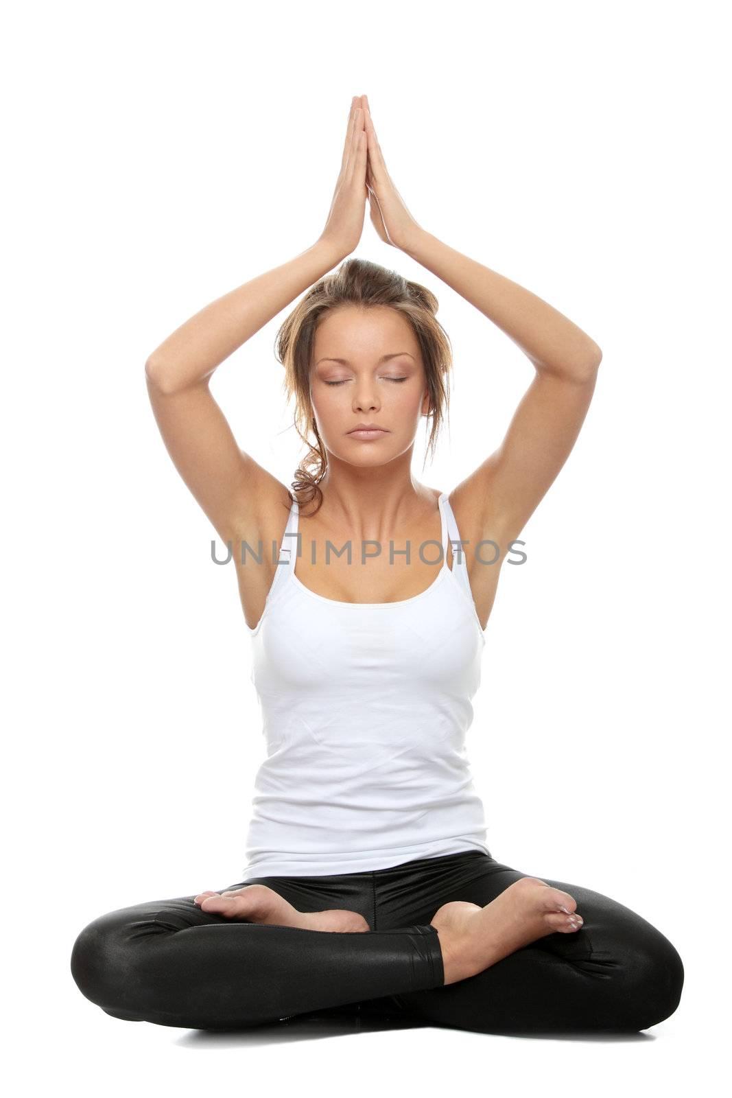 Woman doing yoga pose - Easy Pose, sanskrit name: Sukhasana isolated on white background