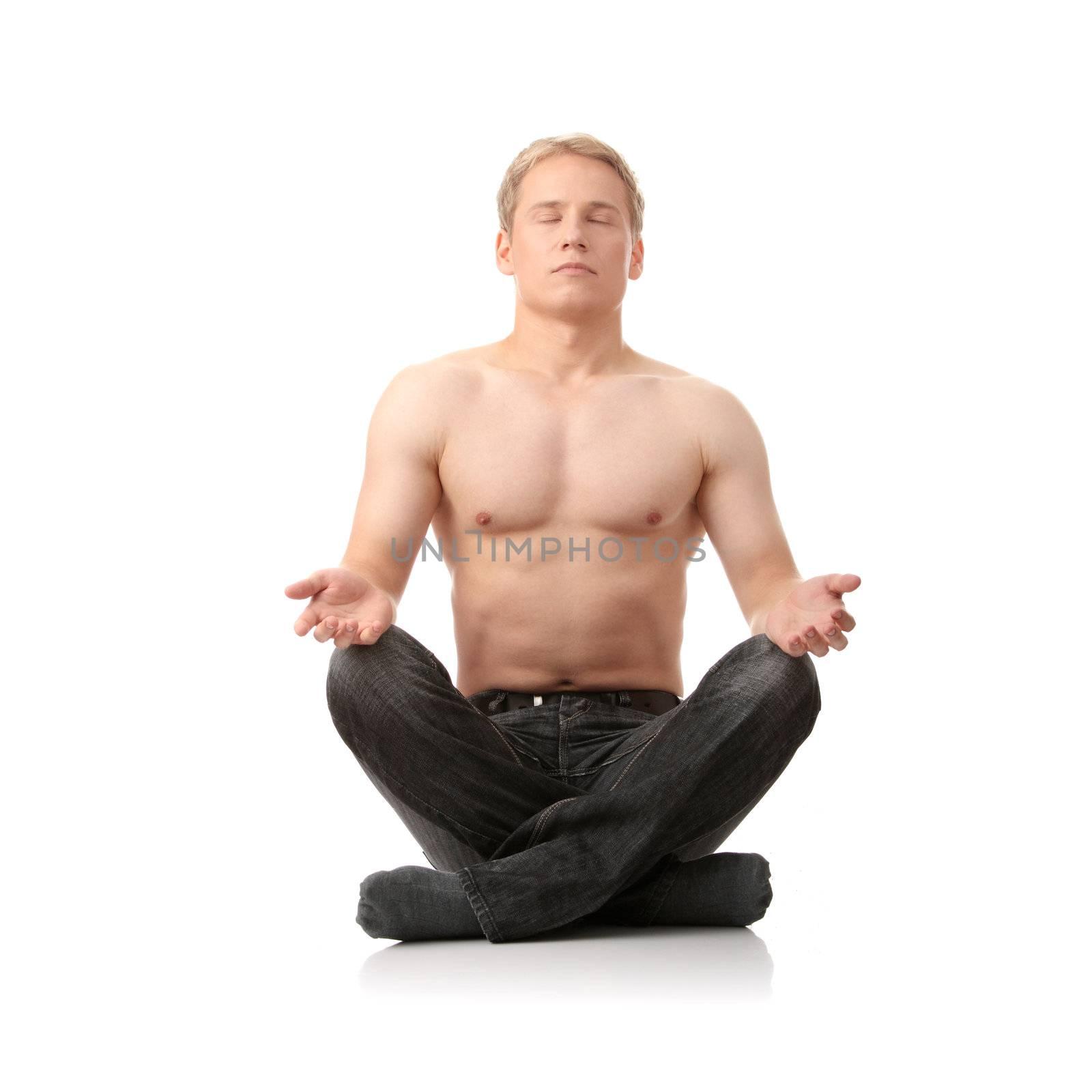 Yoga male isolated on white background