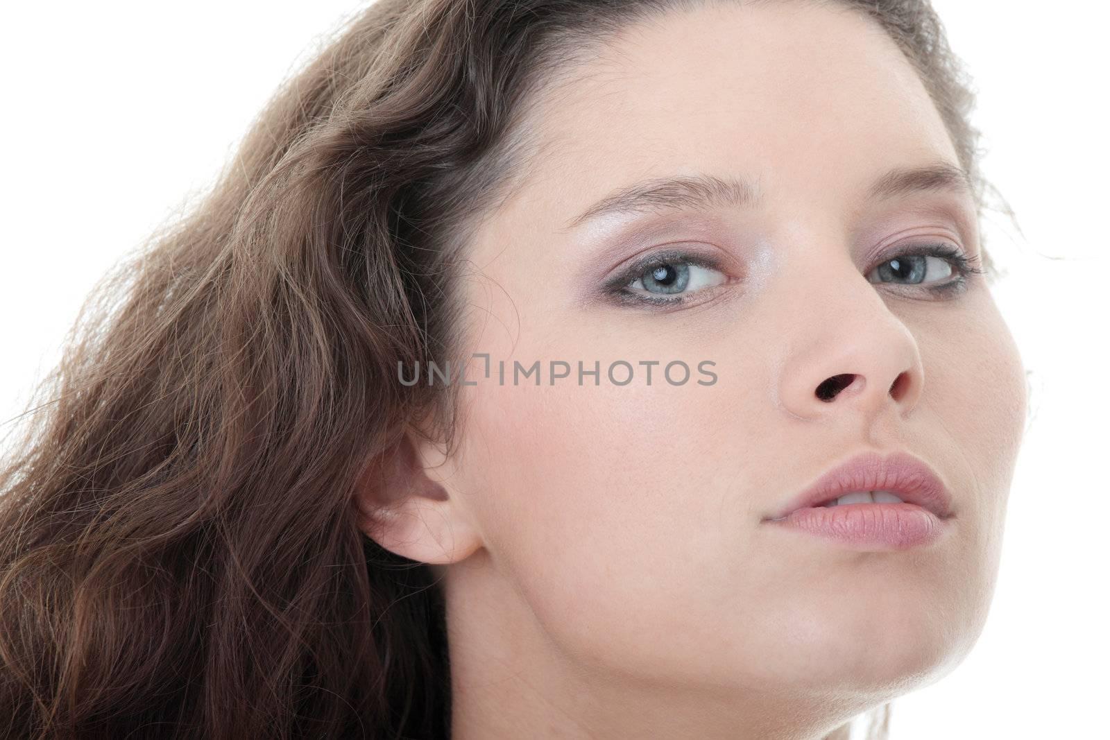 Nice fashion girl posing on white background
