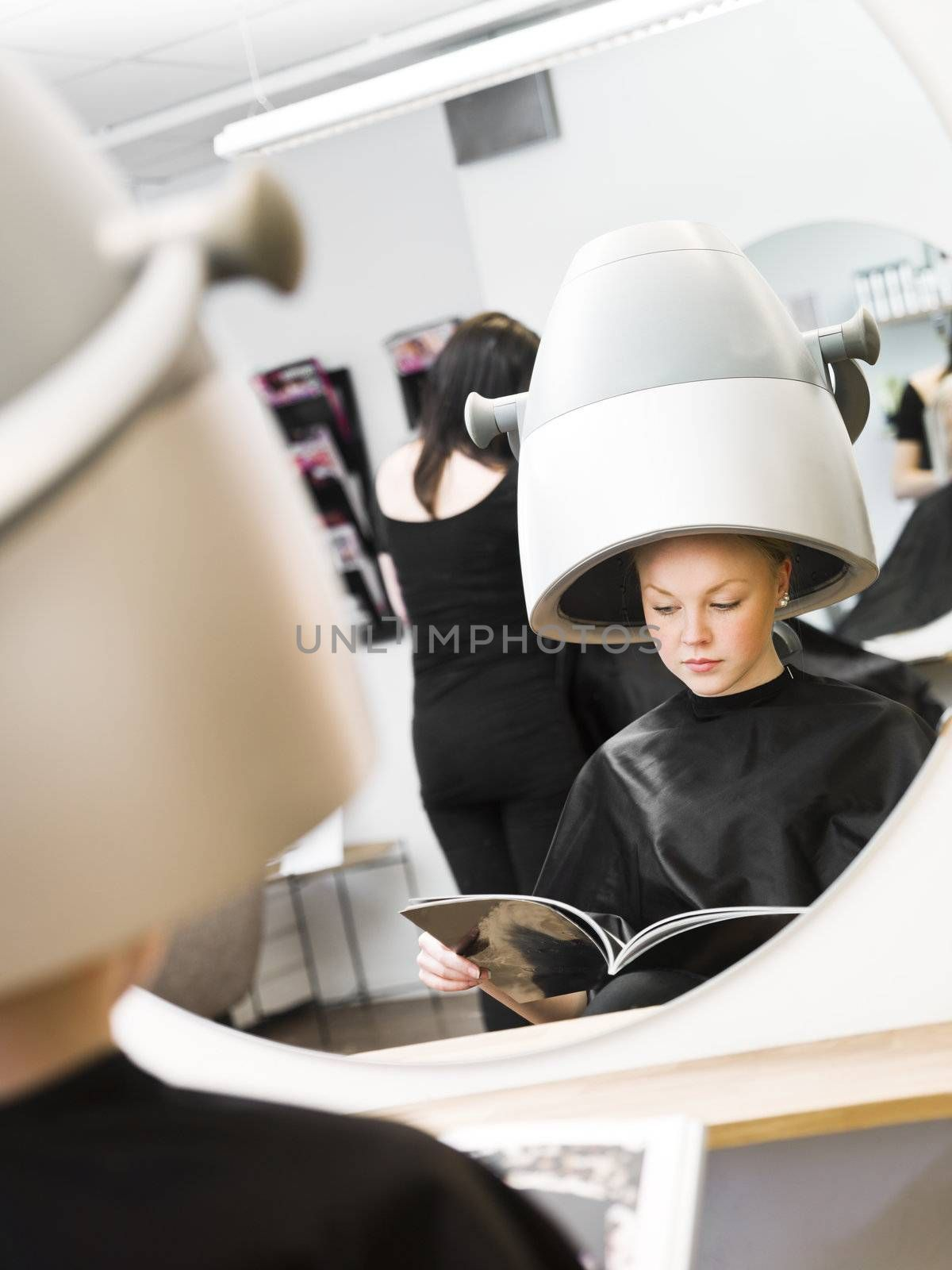 Young girl waiting at the Beauty Spa