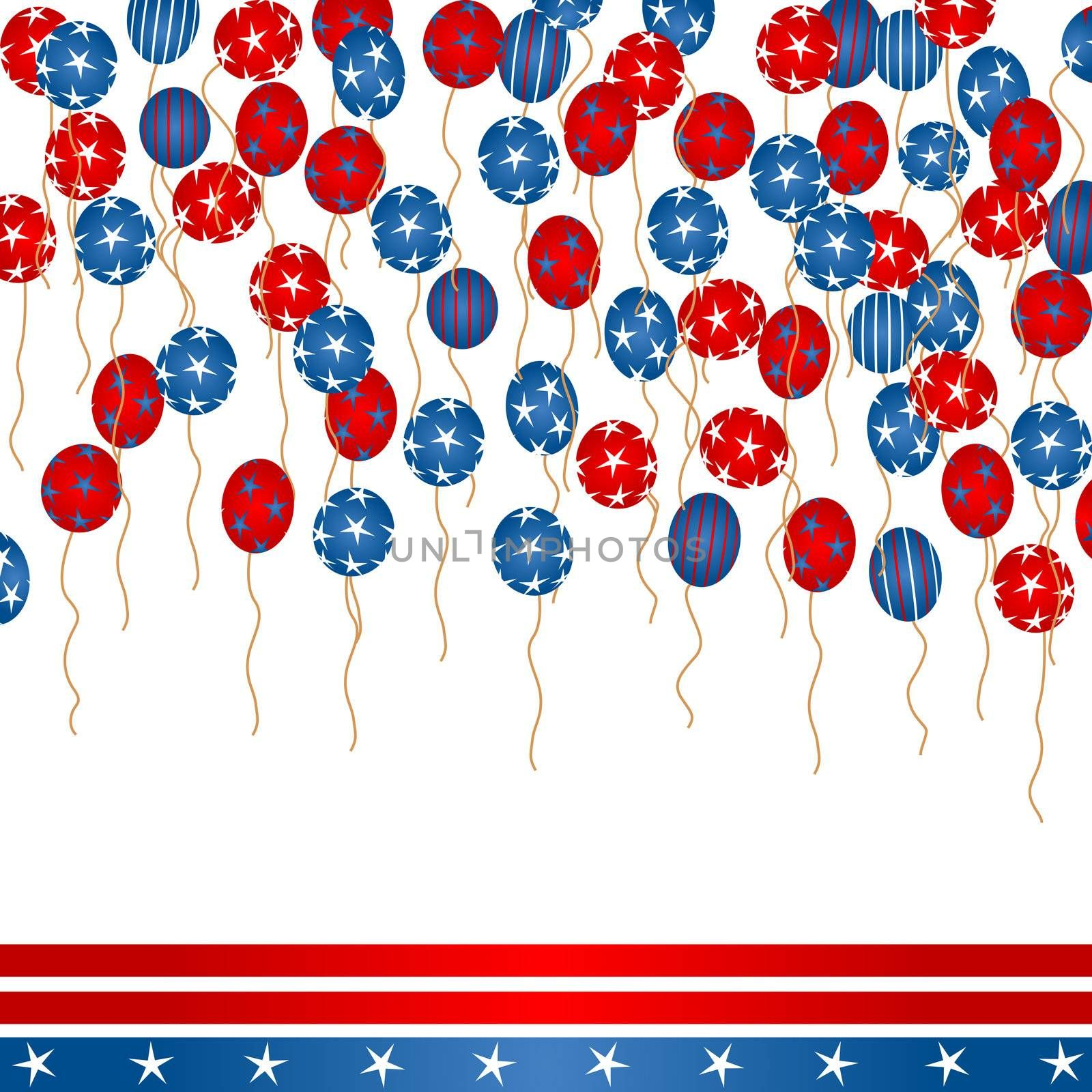 Background illustration with colored balloons, stars and stripes for 4th Of July Day