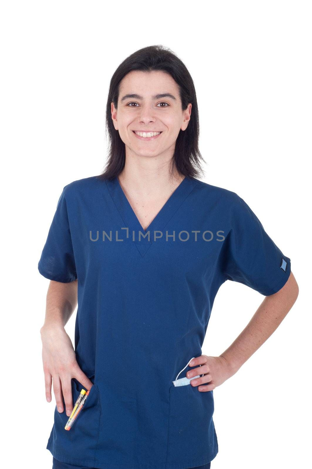 portrait of a smiling young female doctor isolated on white background