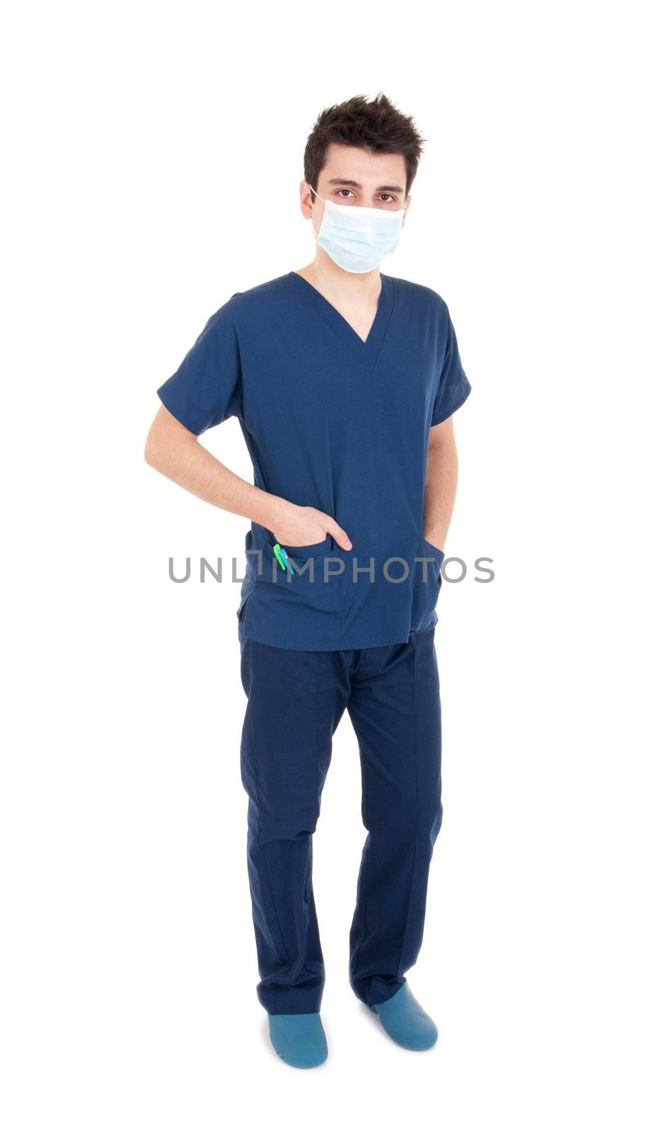 full length portrait of a handsome male doctor wearing mask (isolated on white background)