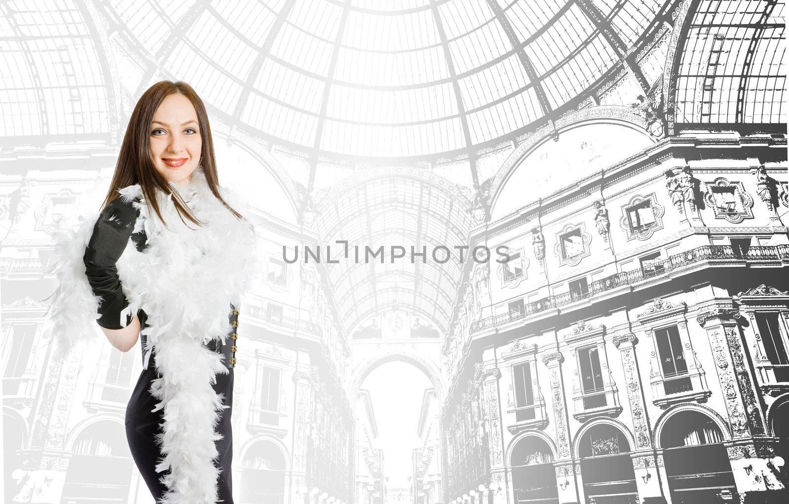conceptual photo of young fashion model with boa on her neck