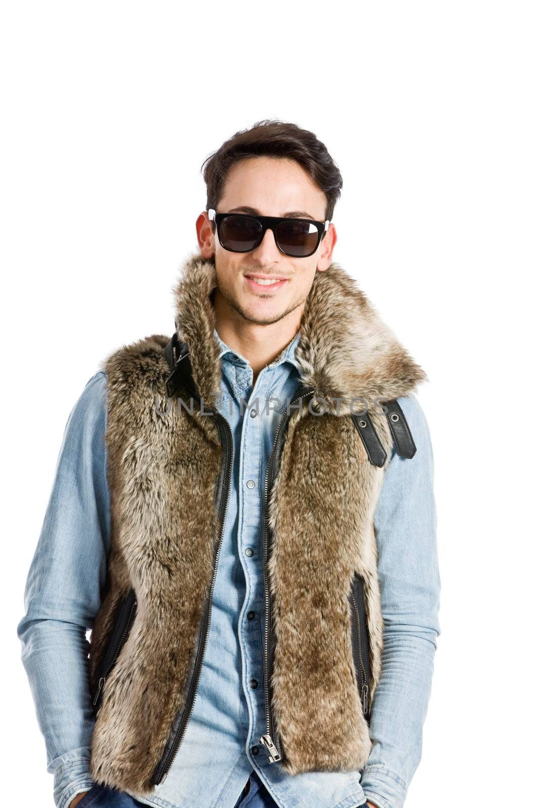 photo of young fashion guy in urban style on white background