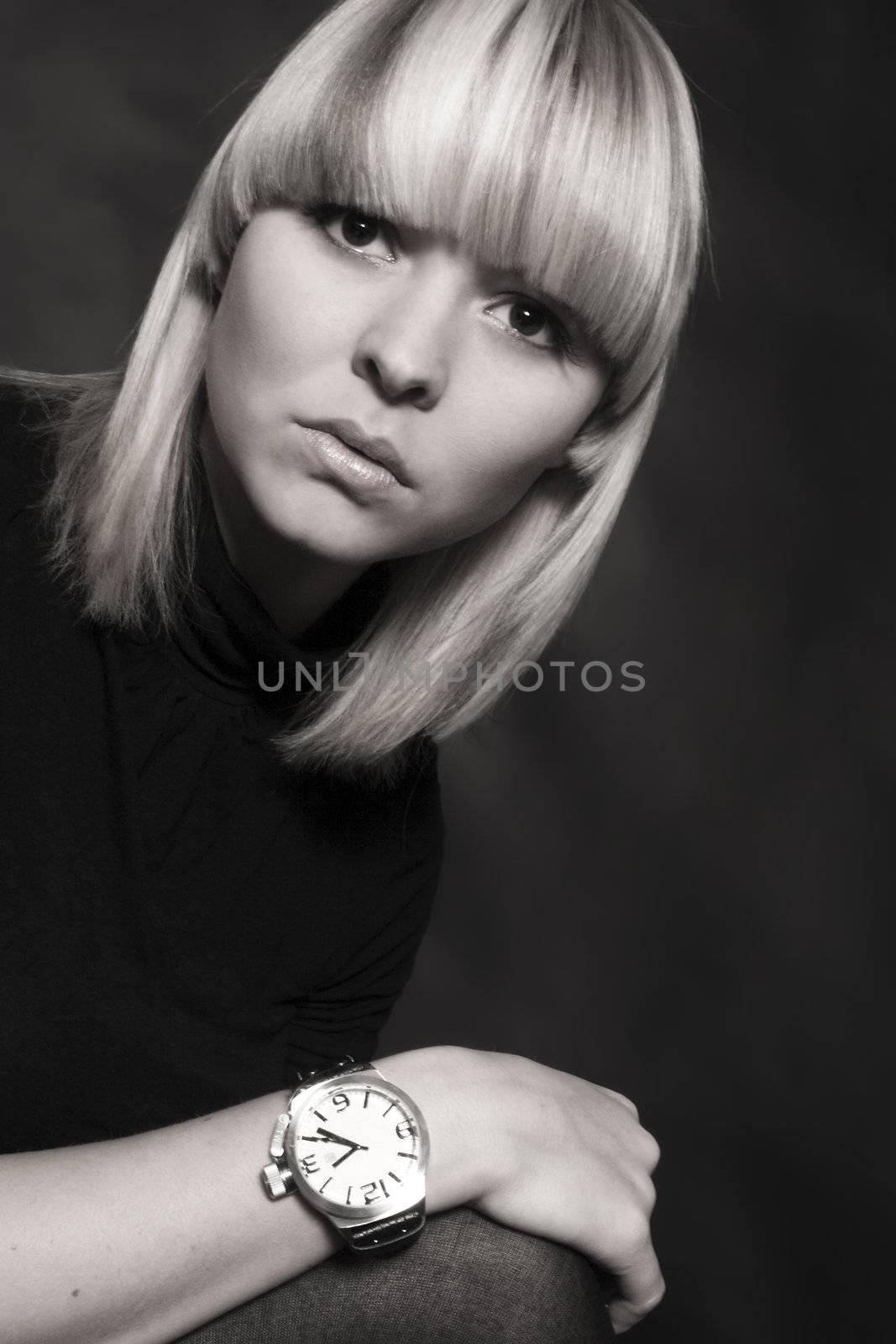 a model portrait in the studio
