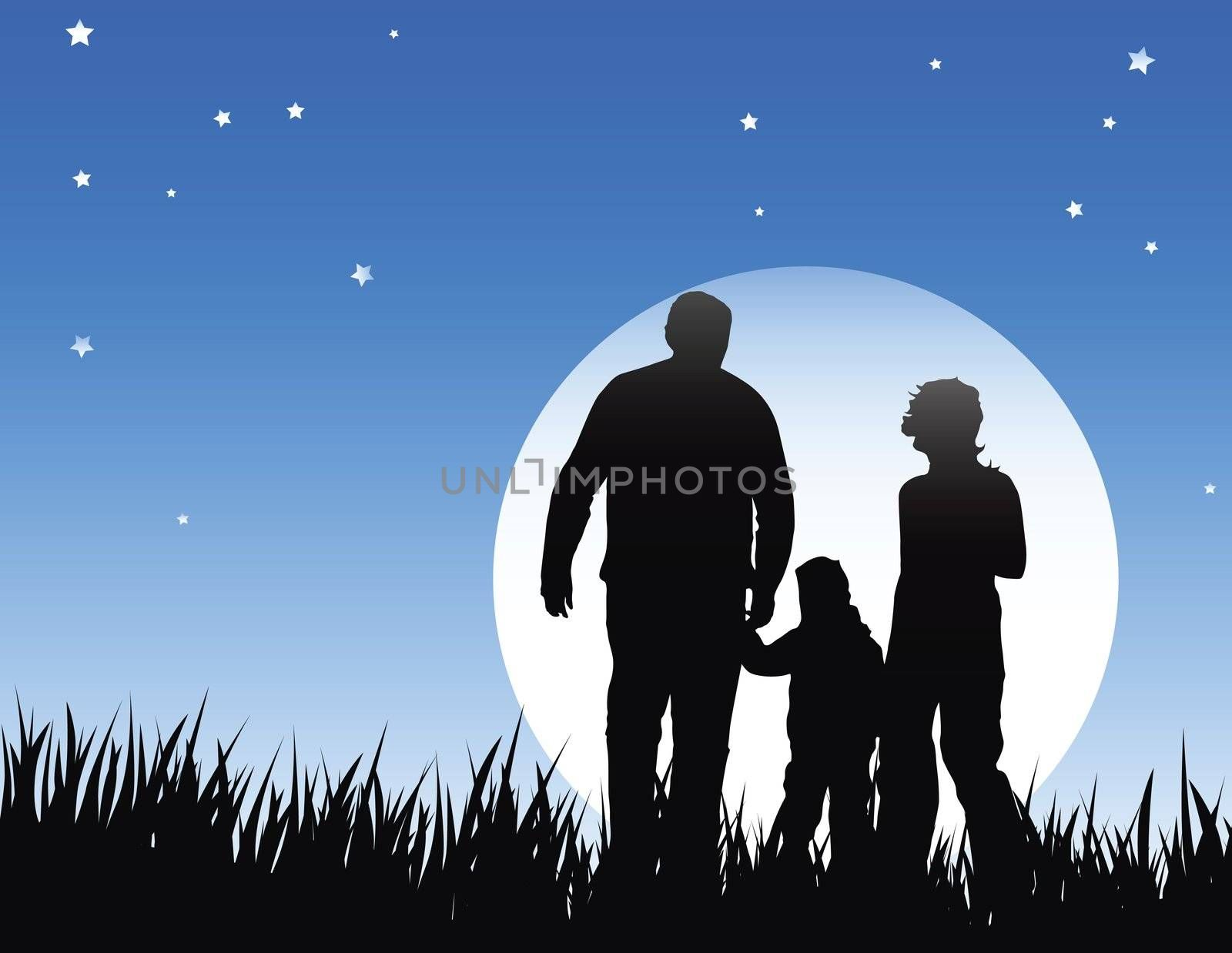 mather father and child on night walk