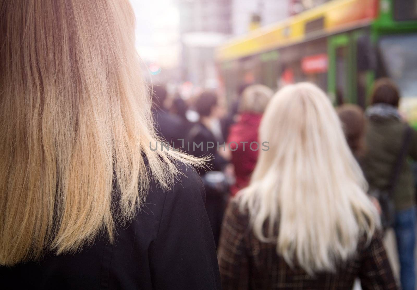 urban citizen concept, focus point on left side( nearest woman)
