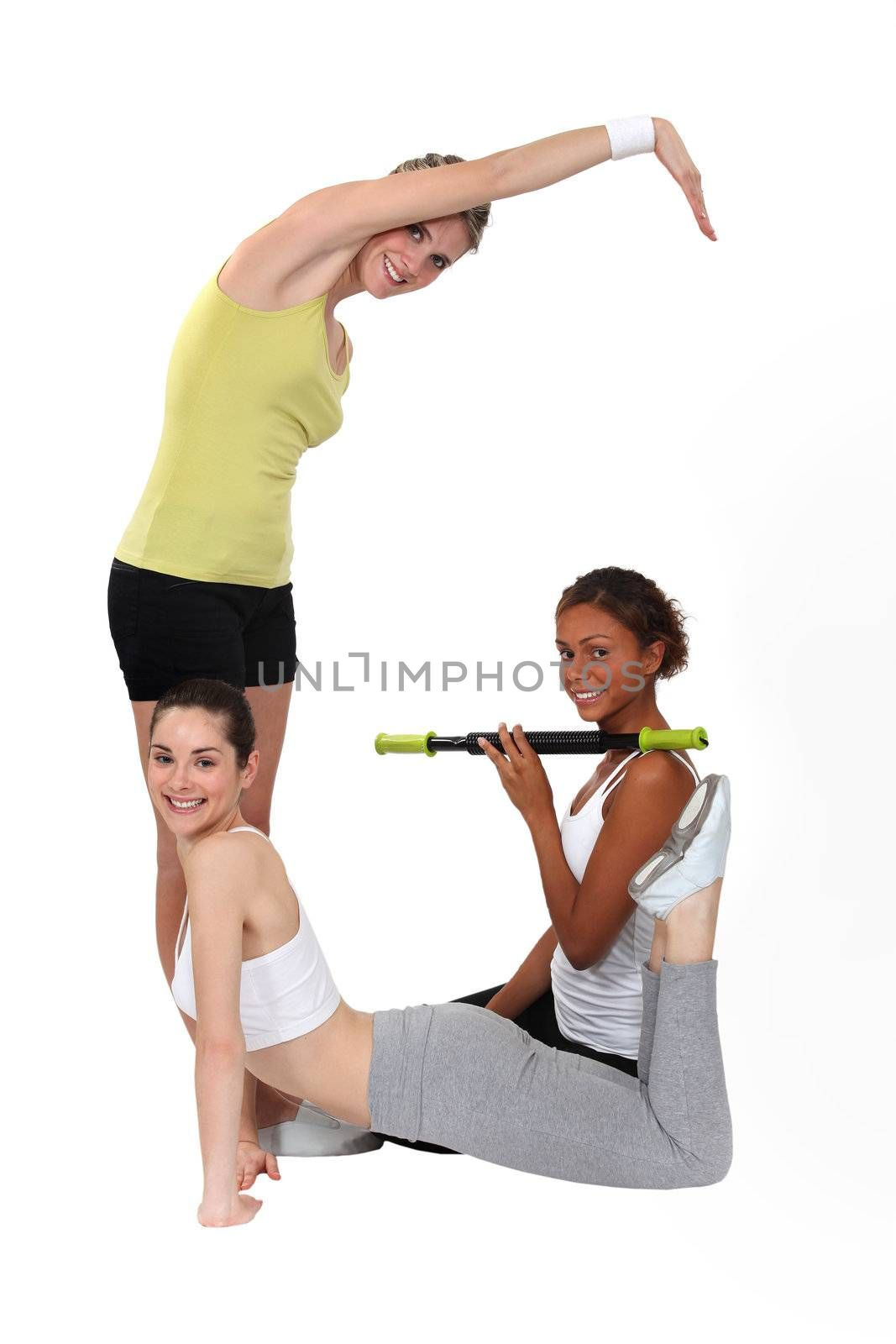 Three women shaping the G letter on white background