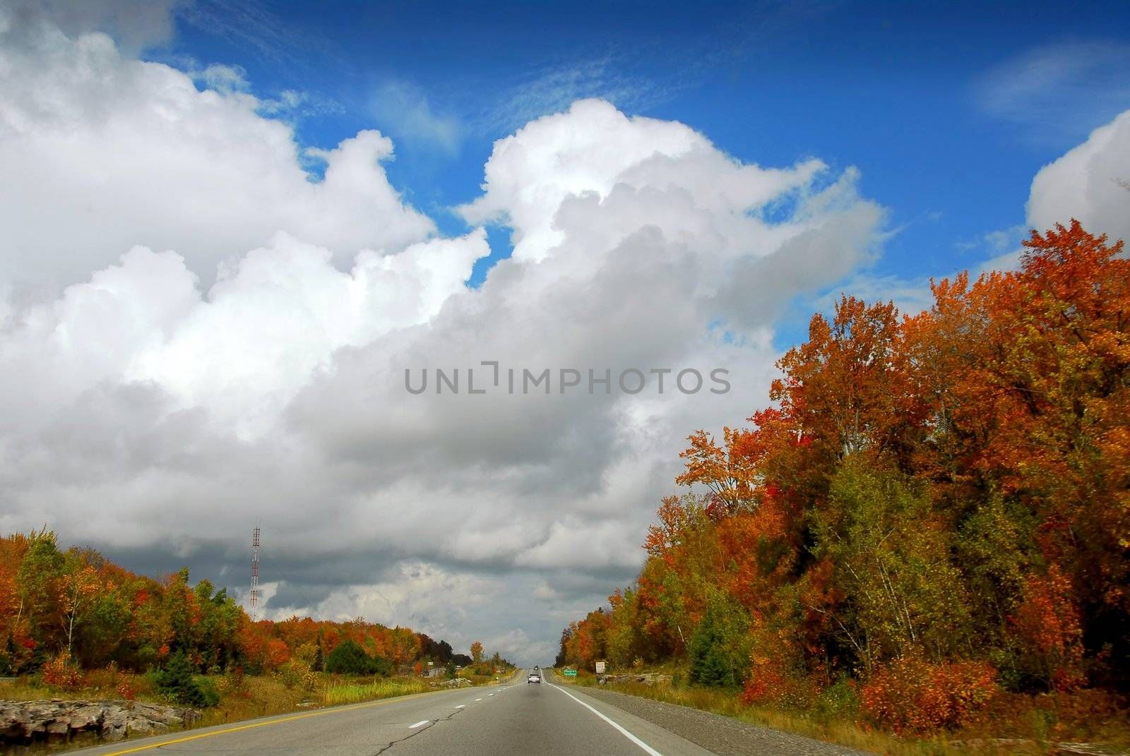 Divided highway in the fall