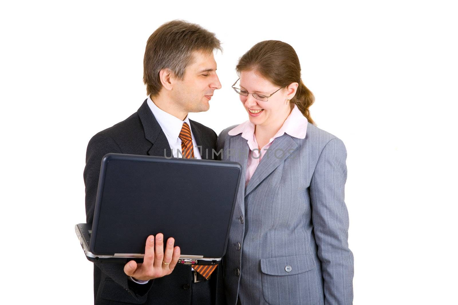 businessman and buisnesswoman together with notebook