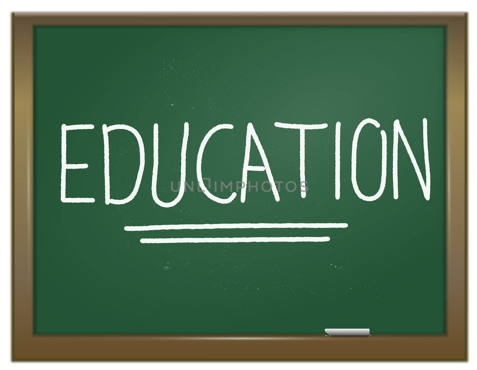 Illustration depicting a green chalk board with the word 'education' written on it in white chalk.