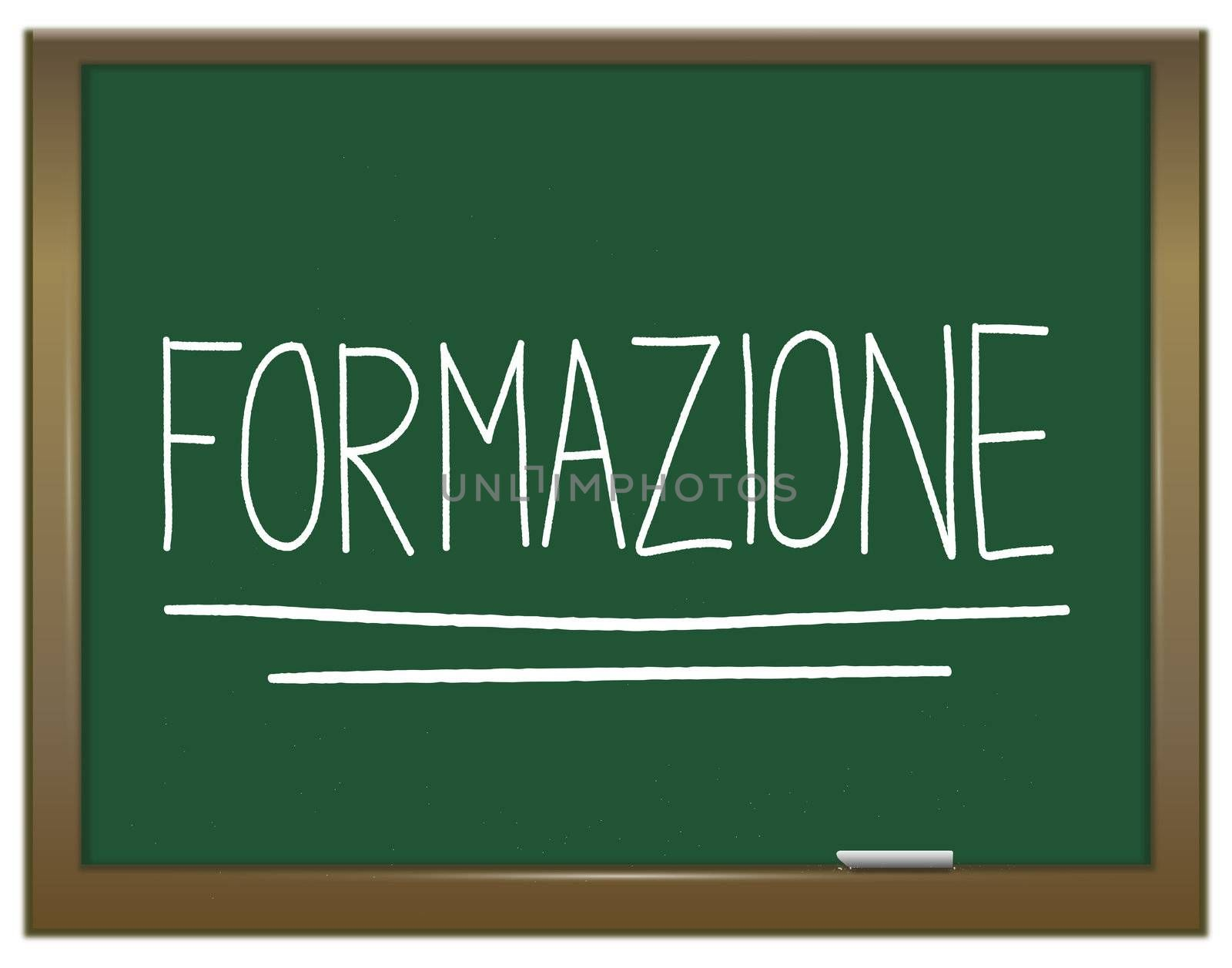 Illustration depicting a green chalkboard with  FORMAZIONE written on it in white.