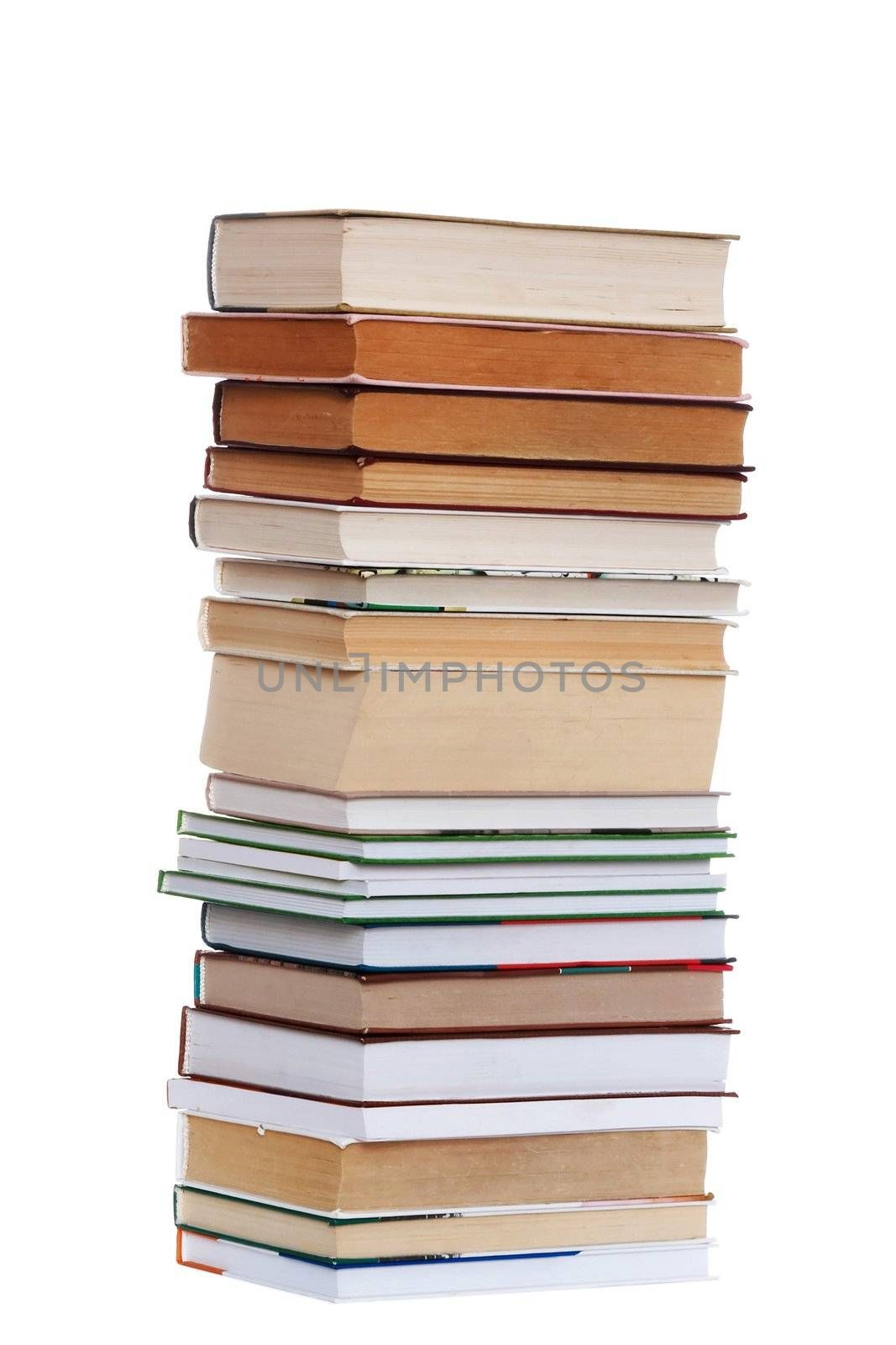 An image of many books. Isolated image.