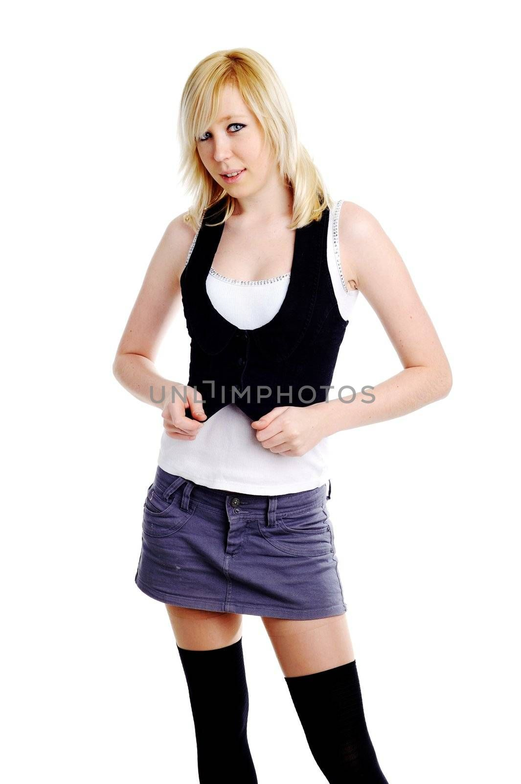 A portrait of a pretty girl in short skirt