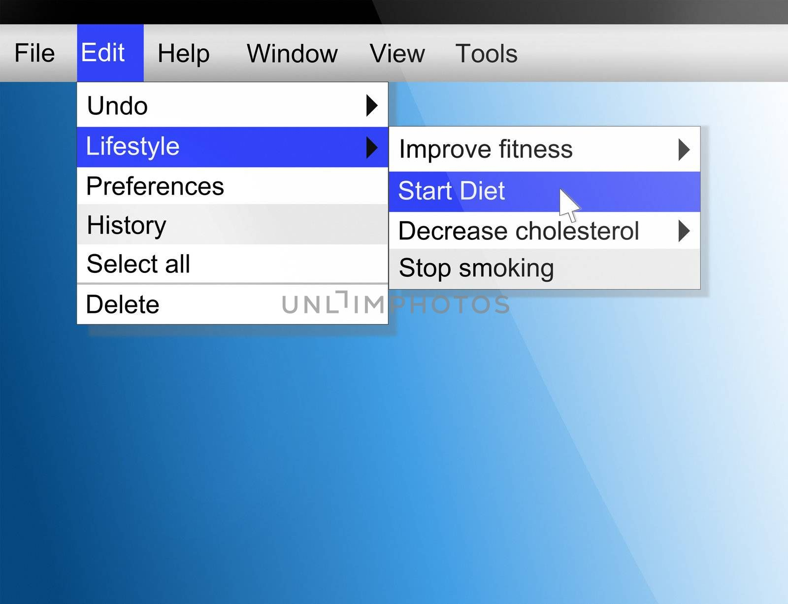 Illustration depicting computer screen shot with a healthy lifestyle concept.