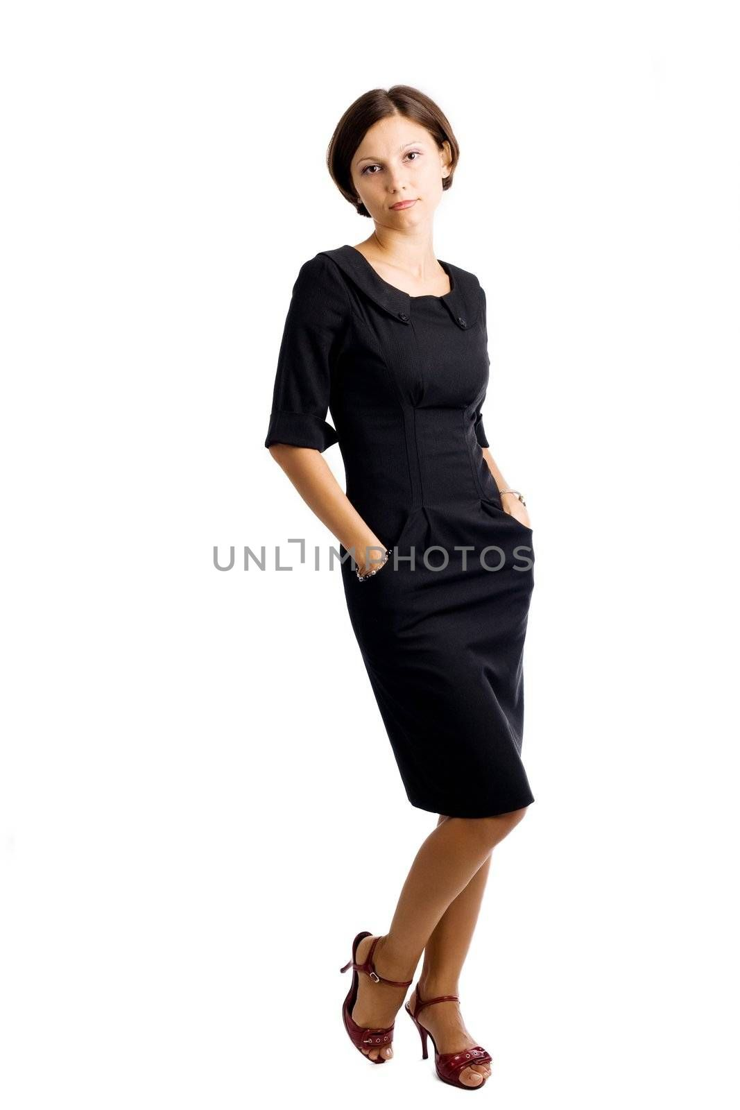 An image of a portrait of a woman in black dress