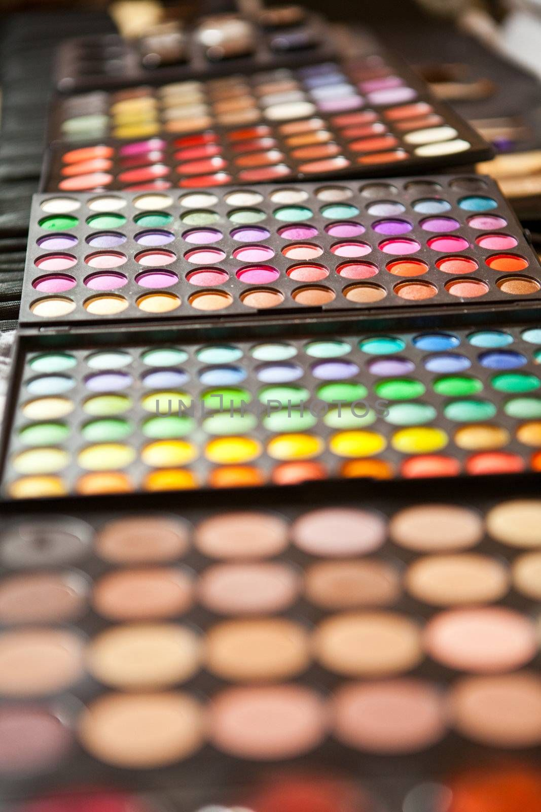 beauty make up palette colorfull closeup