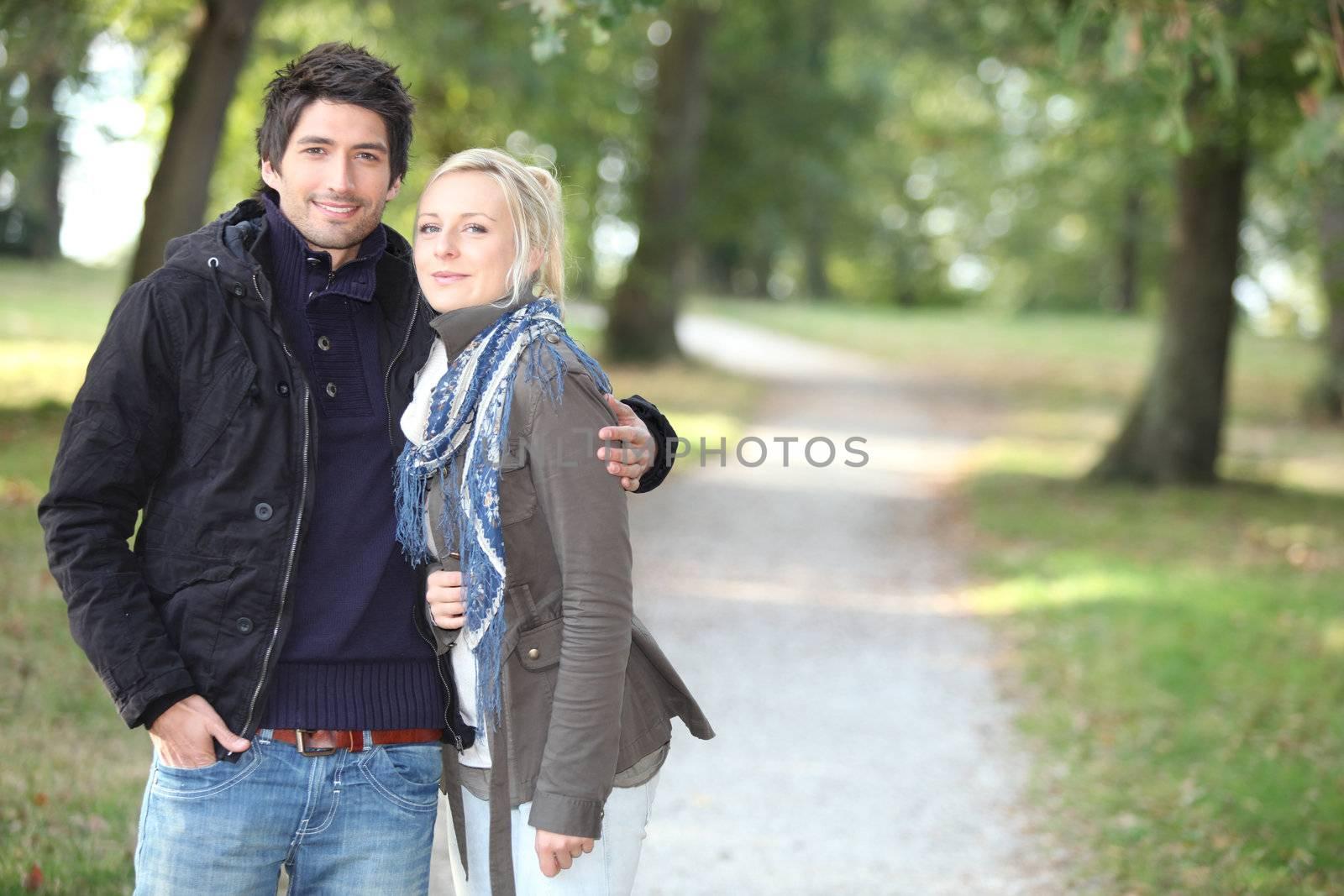 romantic couple at autumn