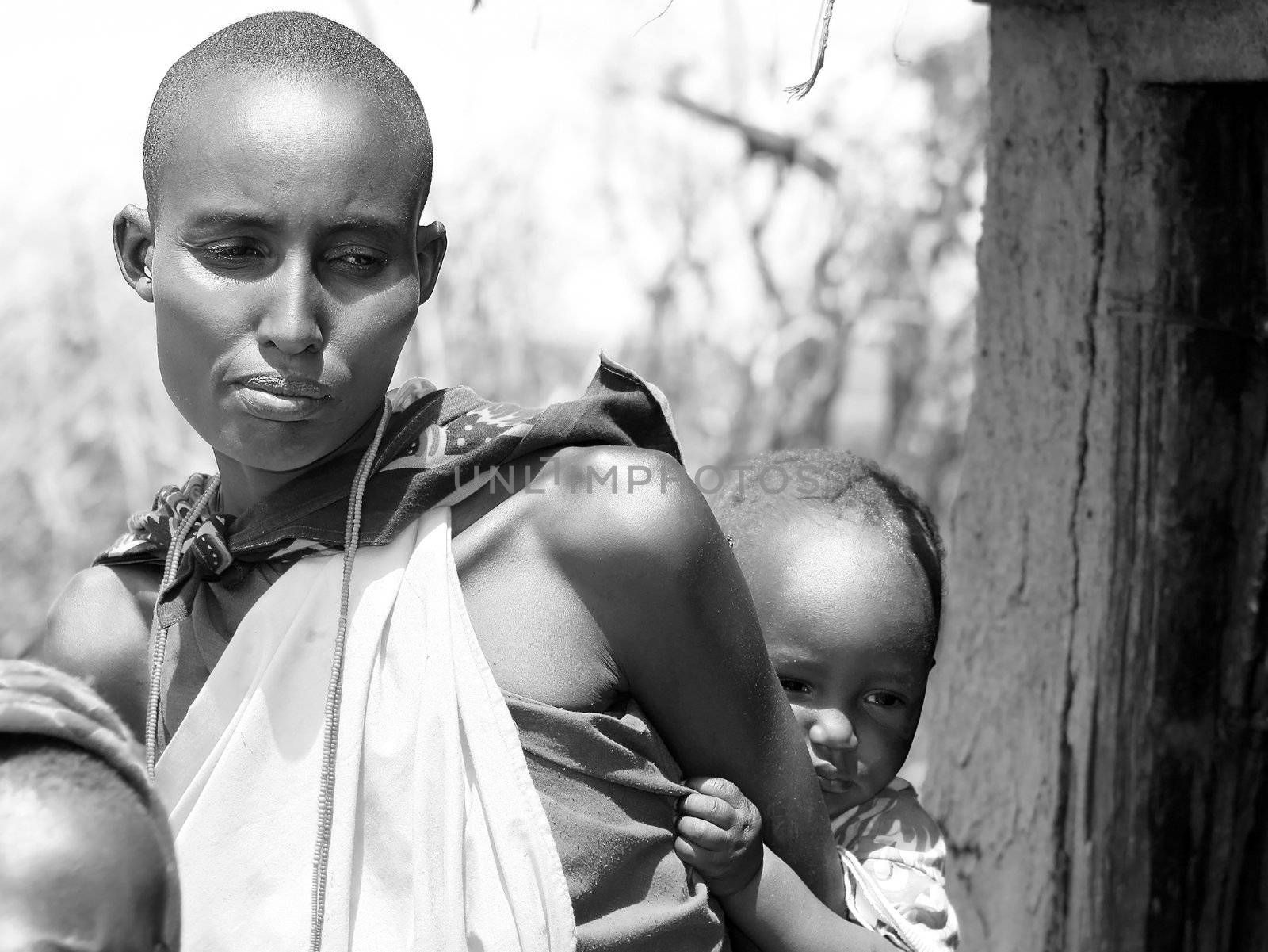 Portrait of an African mother and kid. Editorial use only