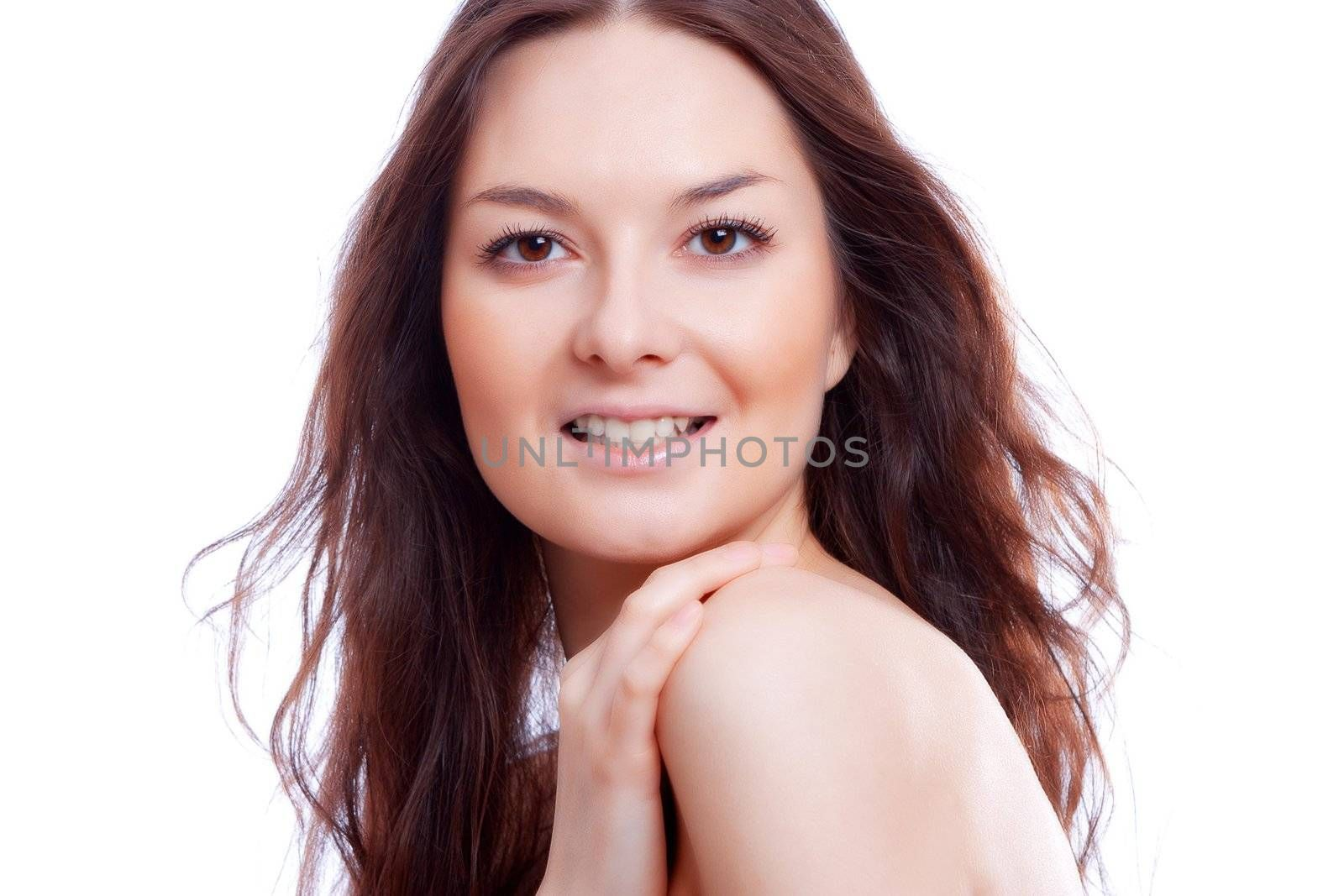 beauty face isolated on the white background