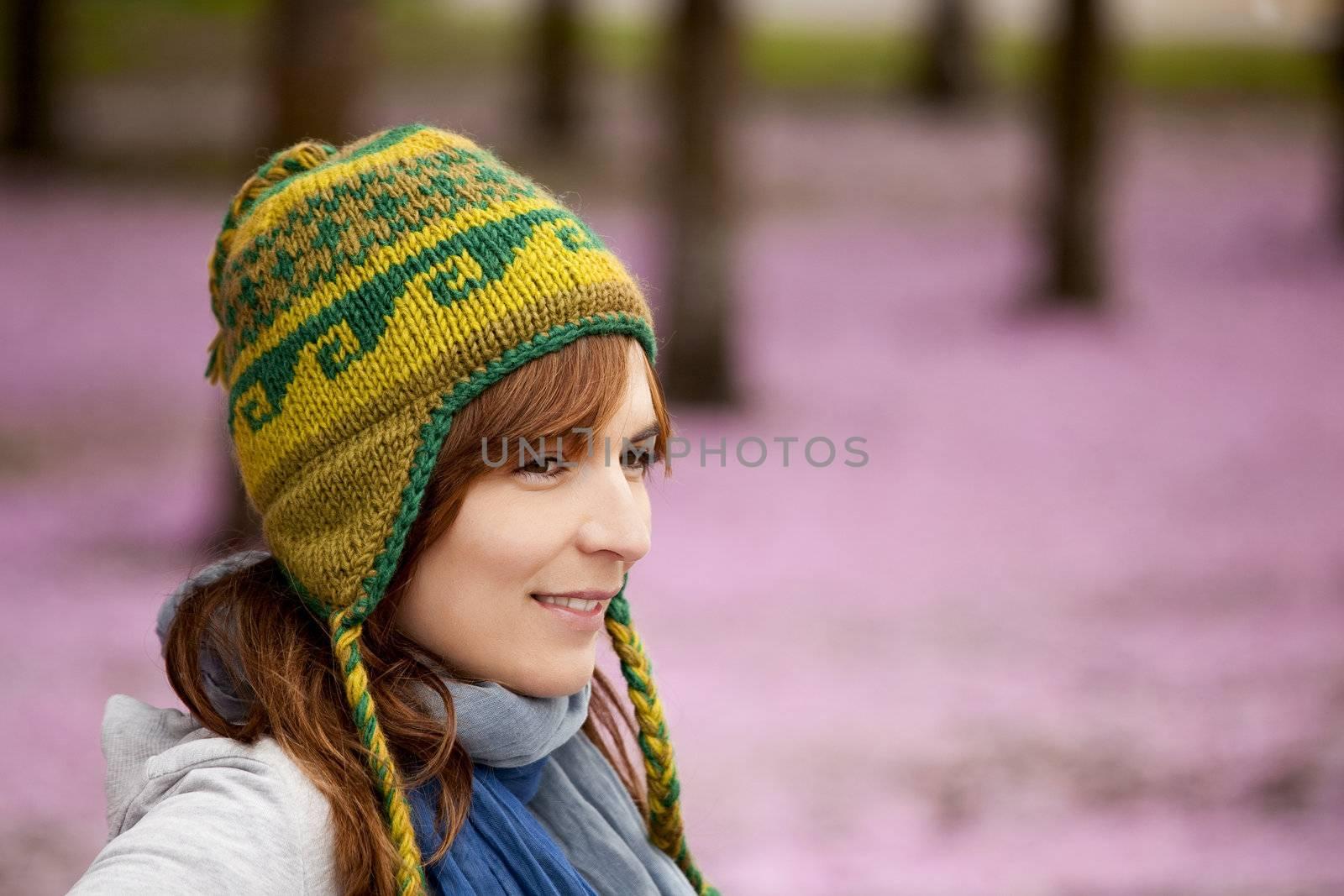 Beautiful and natural girl enjoying the autumn season