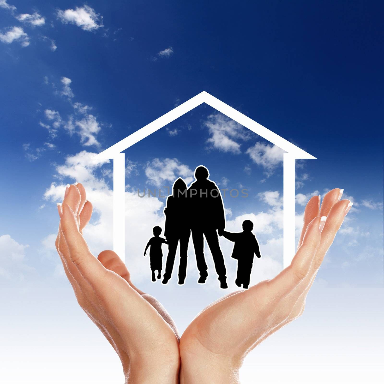 Family of parents and two children inside a house