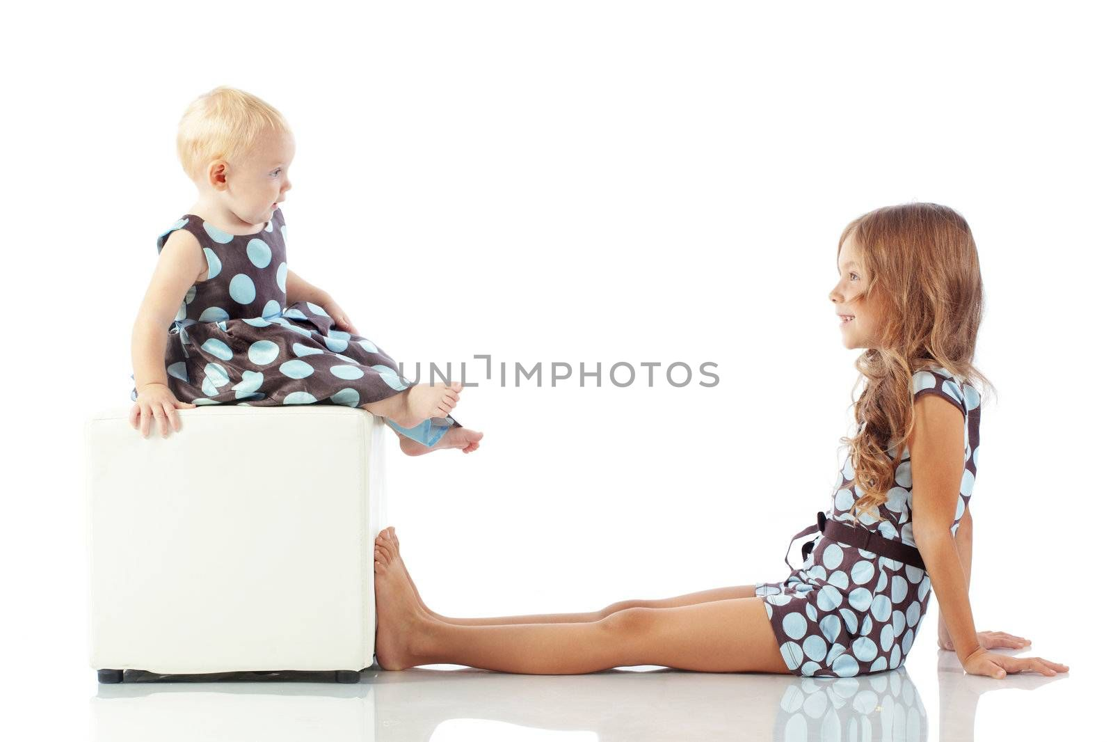 Cute fashion kids isolated on white background