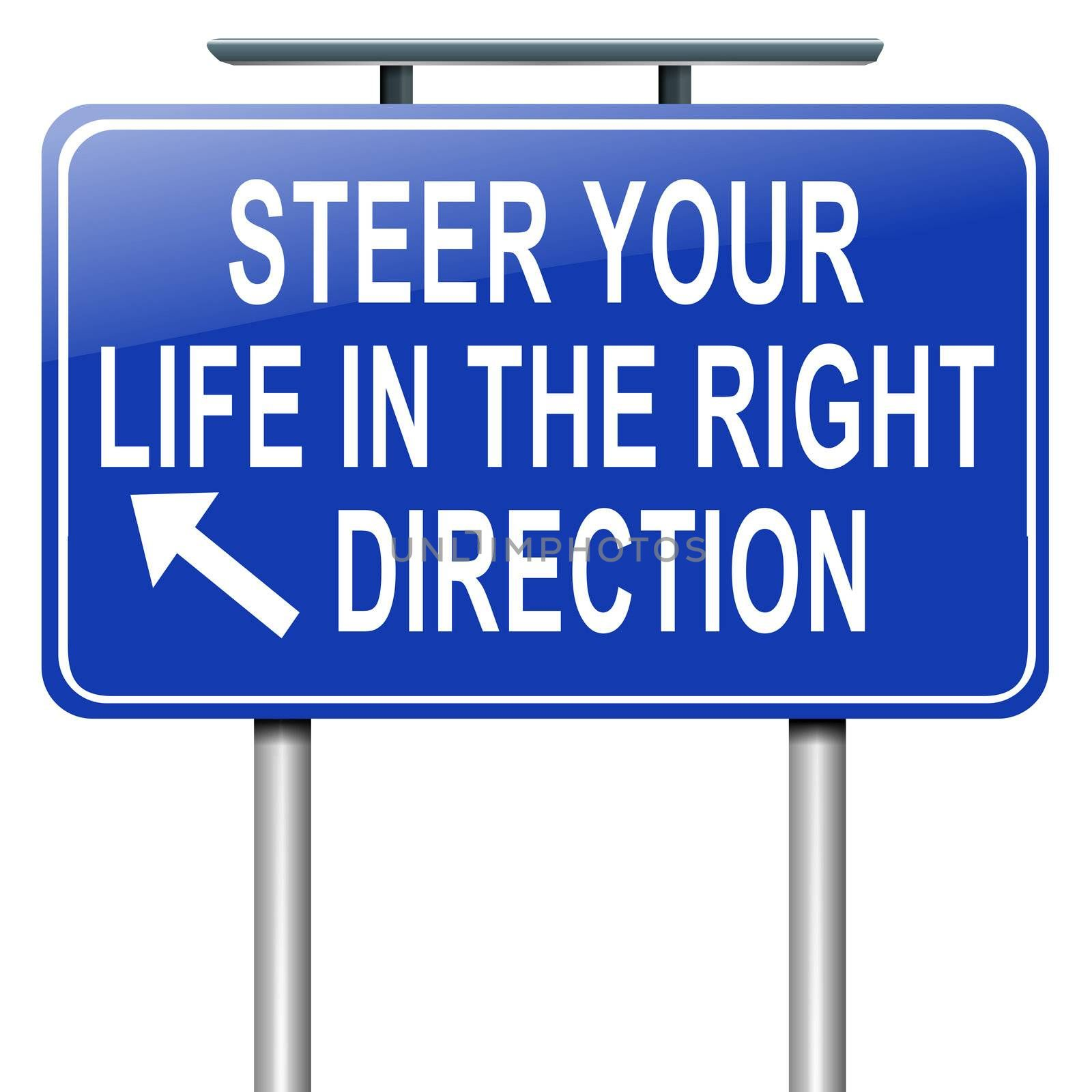 Illustration depicting a roadsign with a life direction concept. White  background.