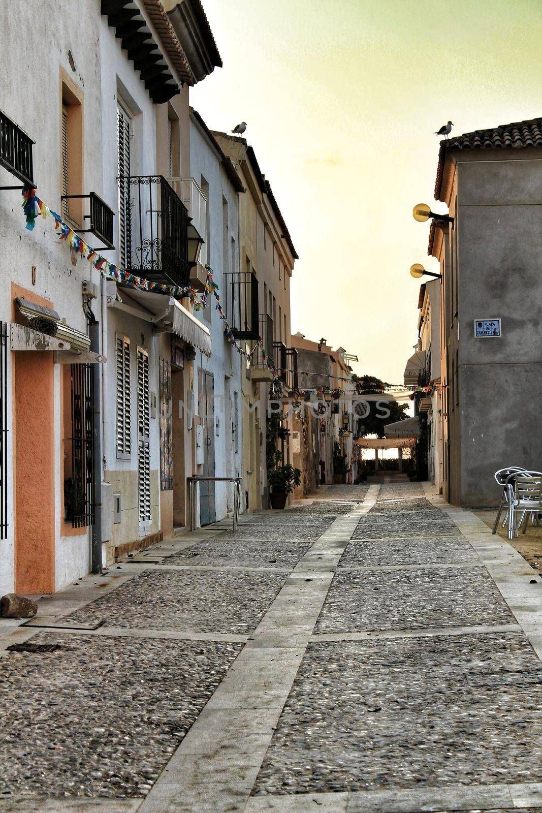 Tabarca Island, Alicante, Spain- July 15, 2018: Streets of Tabarca Island engalanated for the Virgen del Carmen festivities in summer