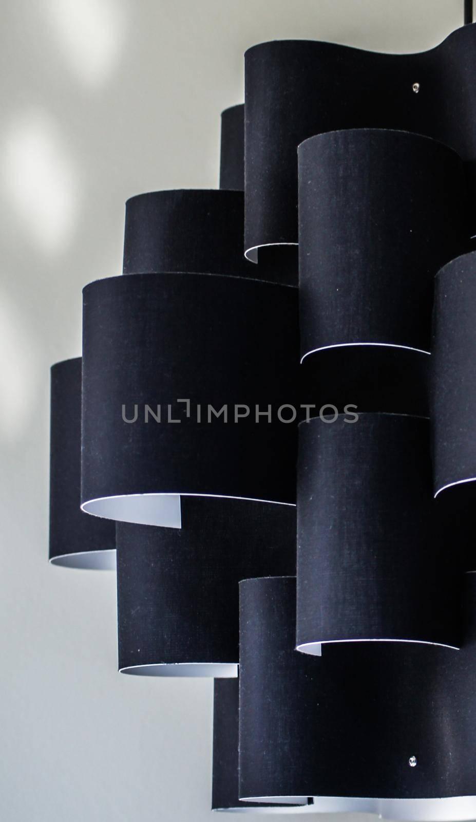 Interior decoration concept with black lighter details