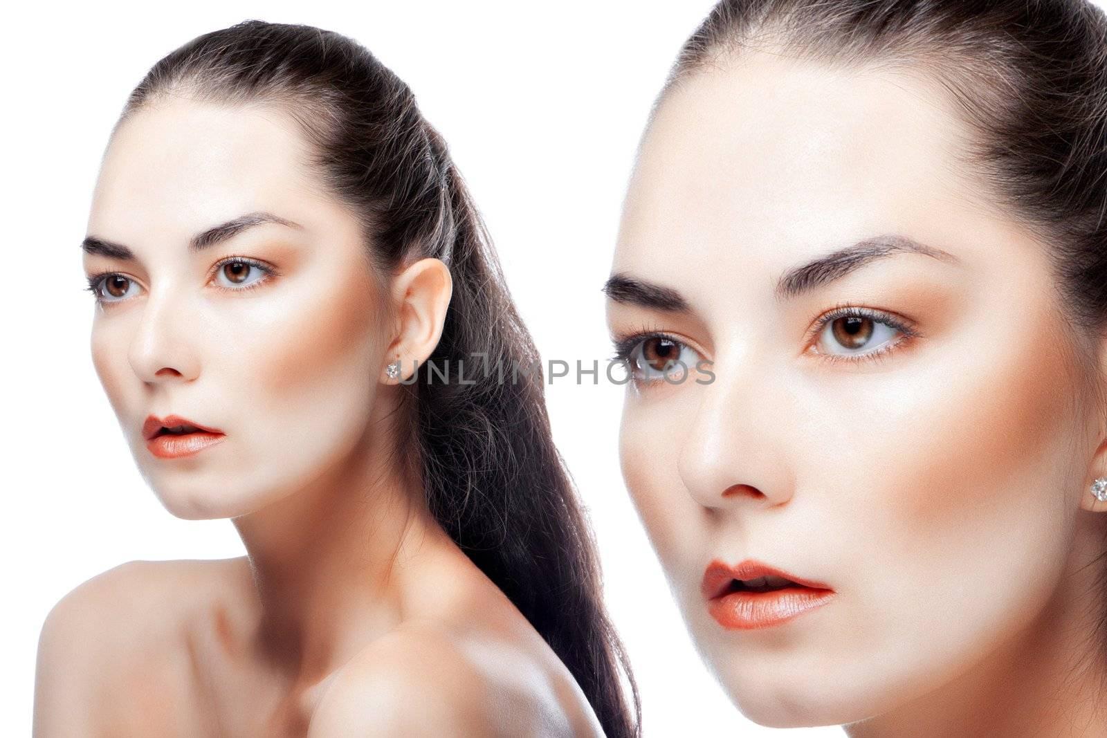 beauty portrait of a woman on a light background.