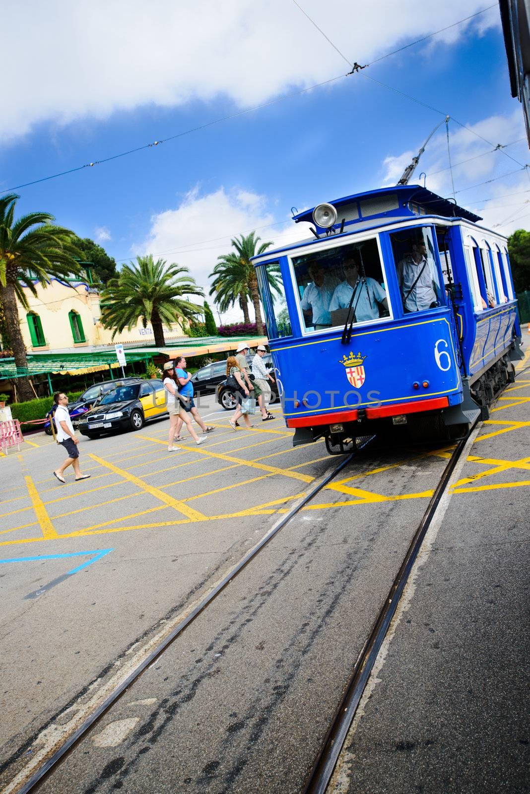 BARCELONA - JULY 13: Nostalgic Blue Tram to Tibidabo July 13, 2012 in Barcelona, Spain.