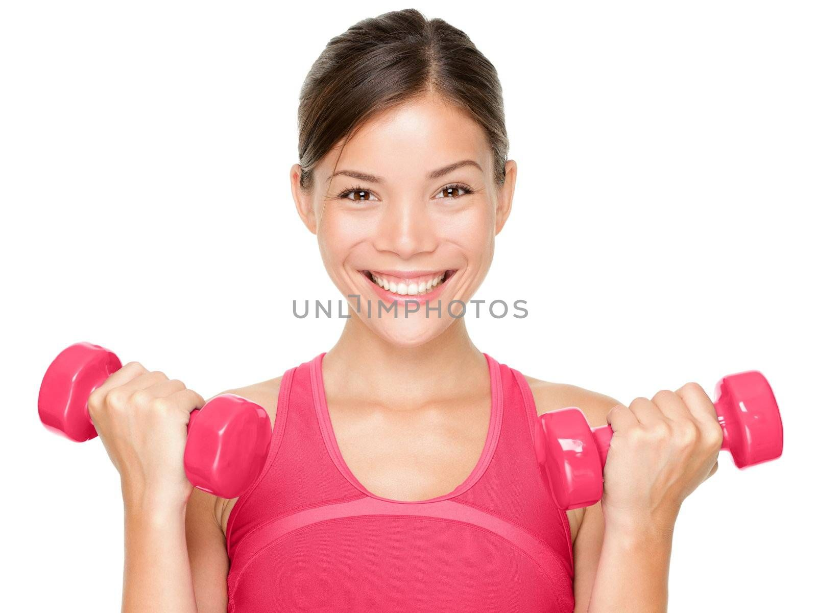 Fitness woman happy holding dumbbell weights smiling isolated on white background. Beautiful multicultural mixed race Asian Caucasian female sport fitness model.