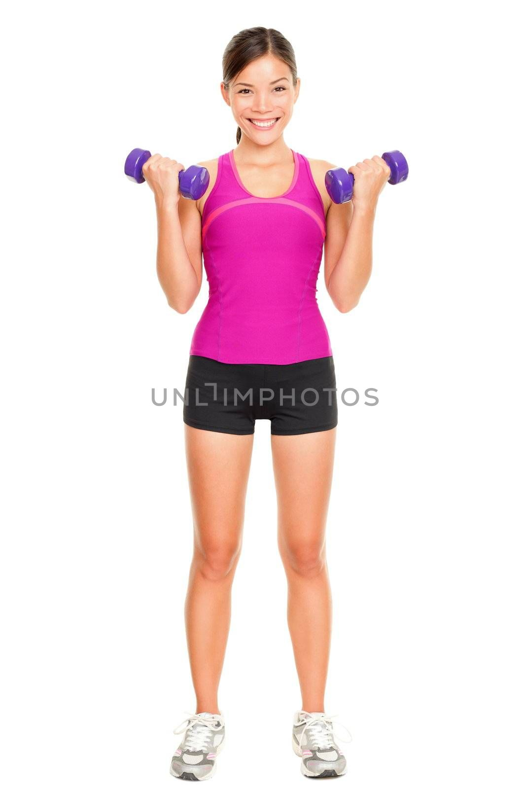 Sport fitness woman standing in full body. Fitness instructor standing holding dumbbell hand weights isolated in full body on white background in studio. Beautiful young mixed race Asian Caucasian female fitness model.