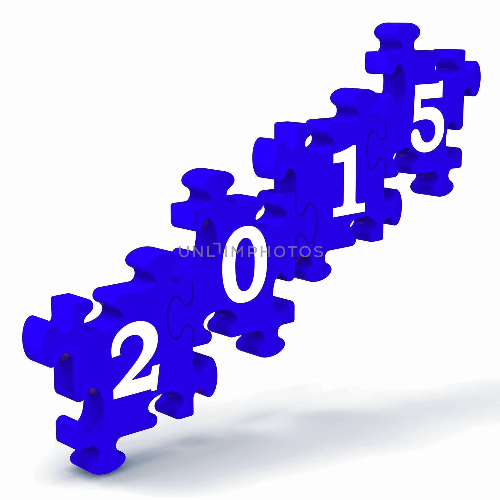 2015 Puzzle Shows Annual Resolutions And Goals