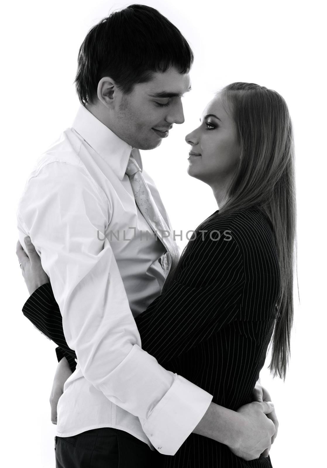 monochrome picture of happy couple in love over white
