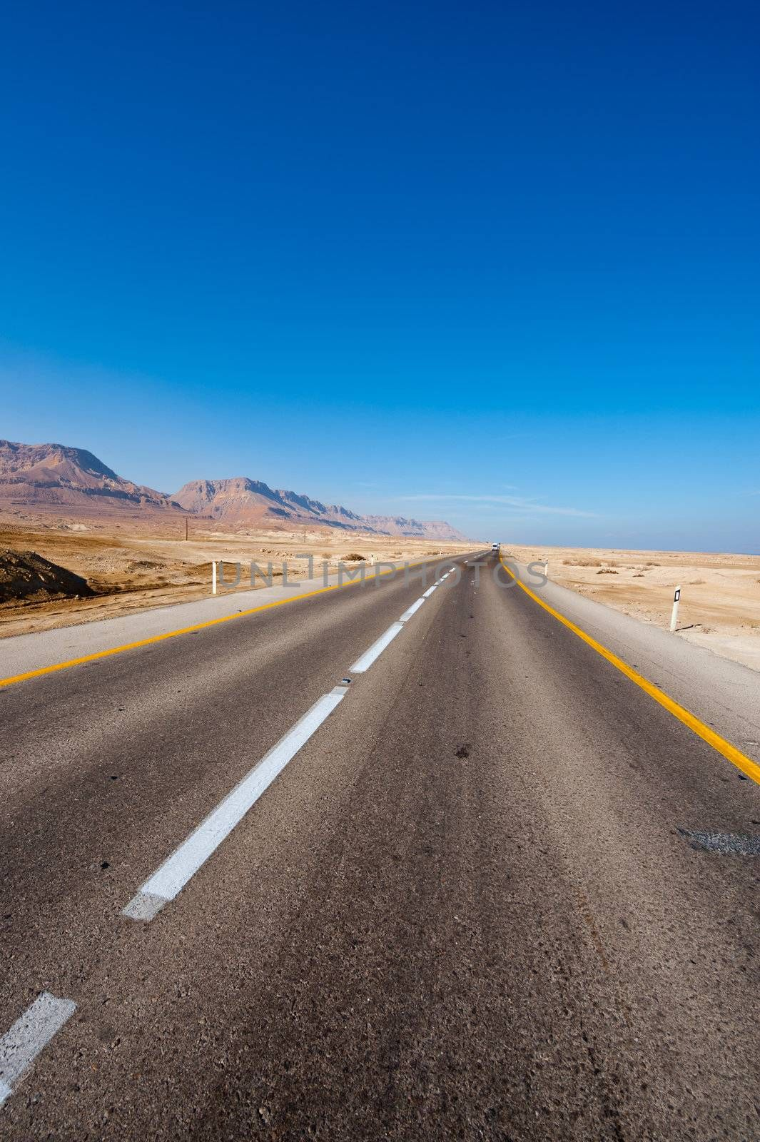 Asphalt Road along the Coast of Dead Sea, Israel