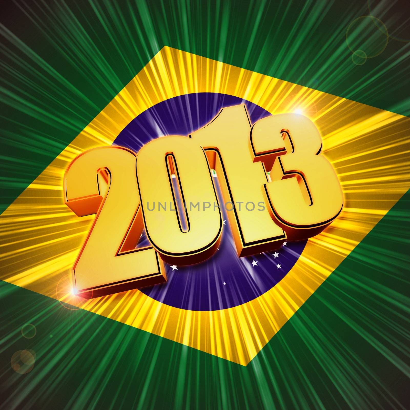3d golden figures year 2013 with rays and shining Brazilian flag