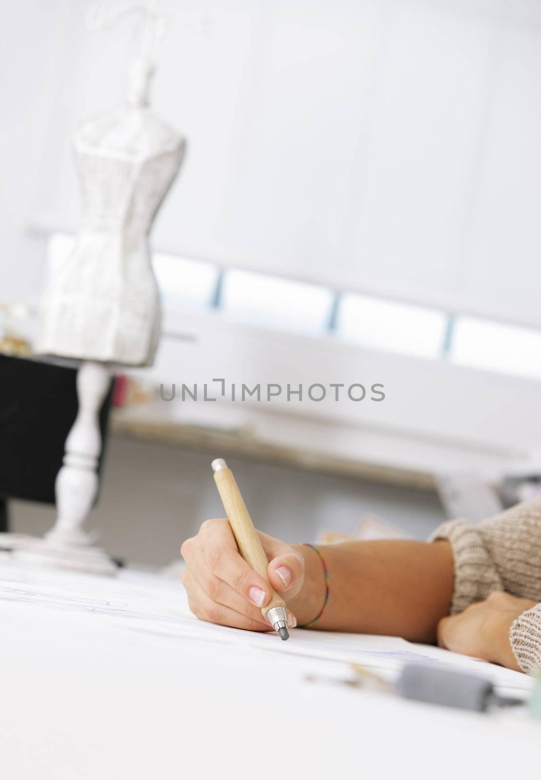 fashion designer, hand close up
