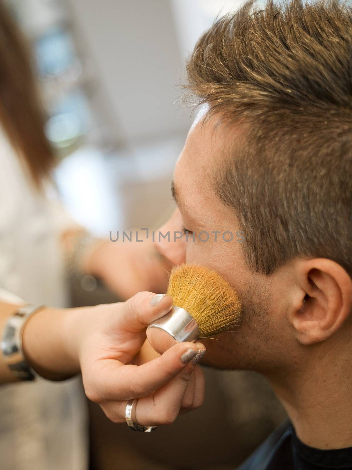 Close up of an Adult man in a Beauty salon