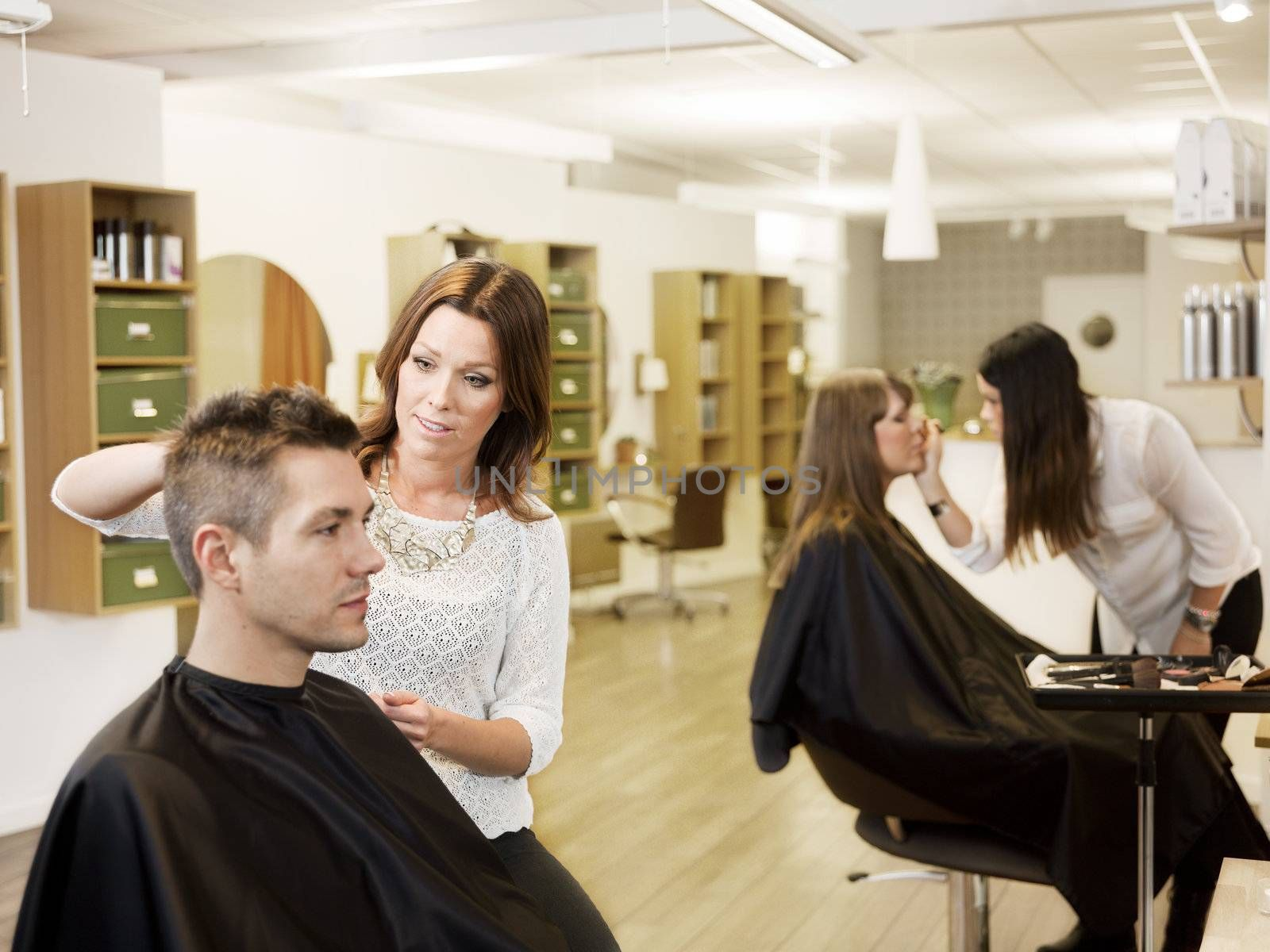 Customers and Hairdressers in the Beauty shop