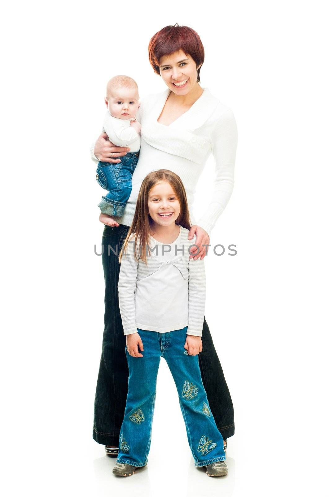 Mother with two babies isolated on a white background
