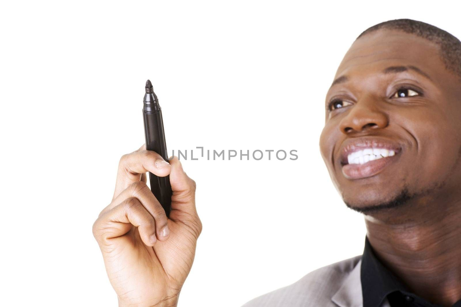 Businessman drawing something abstract with black marker, isolated on white background
