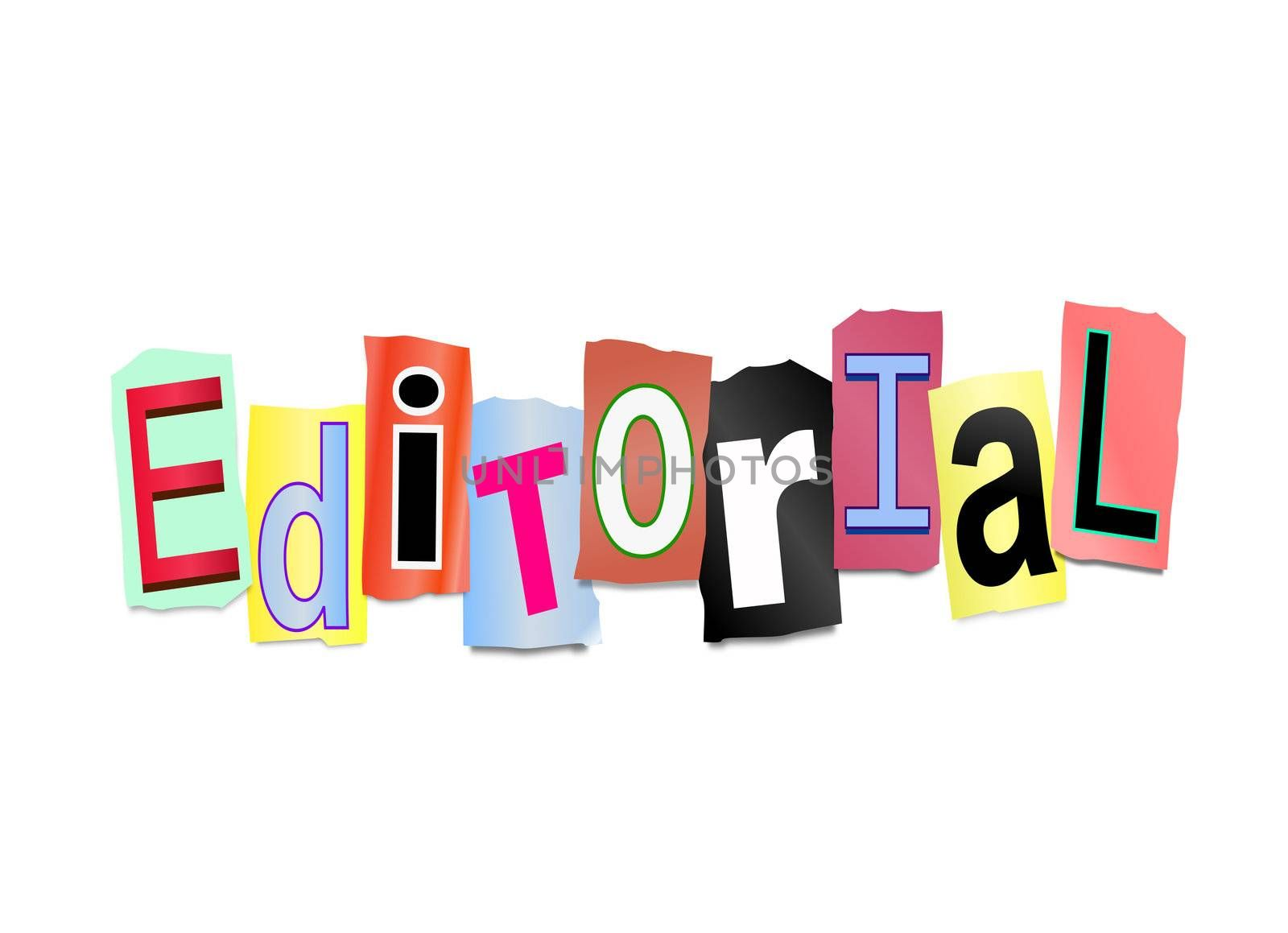 Illustration depicting cutout printed letters arranged to form the word editorial.