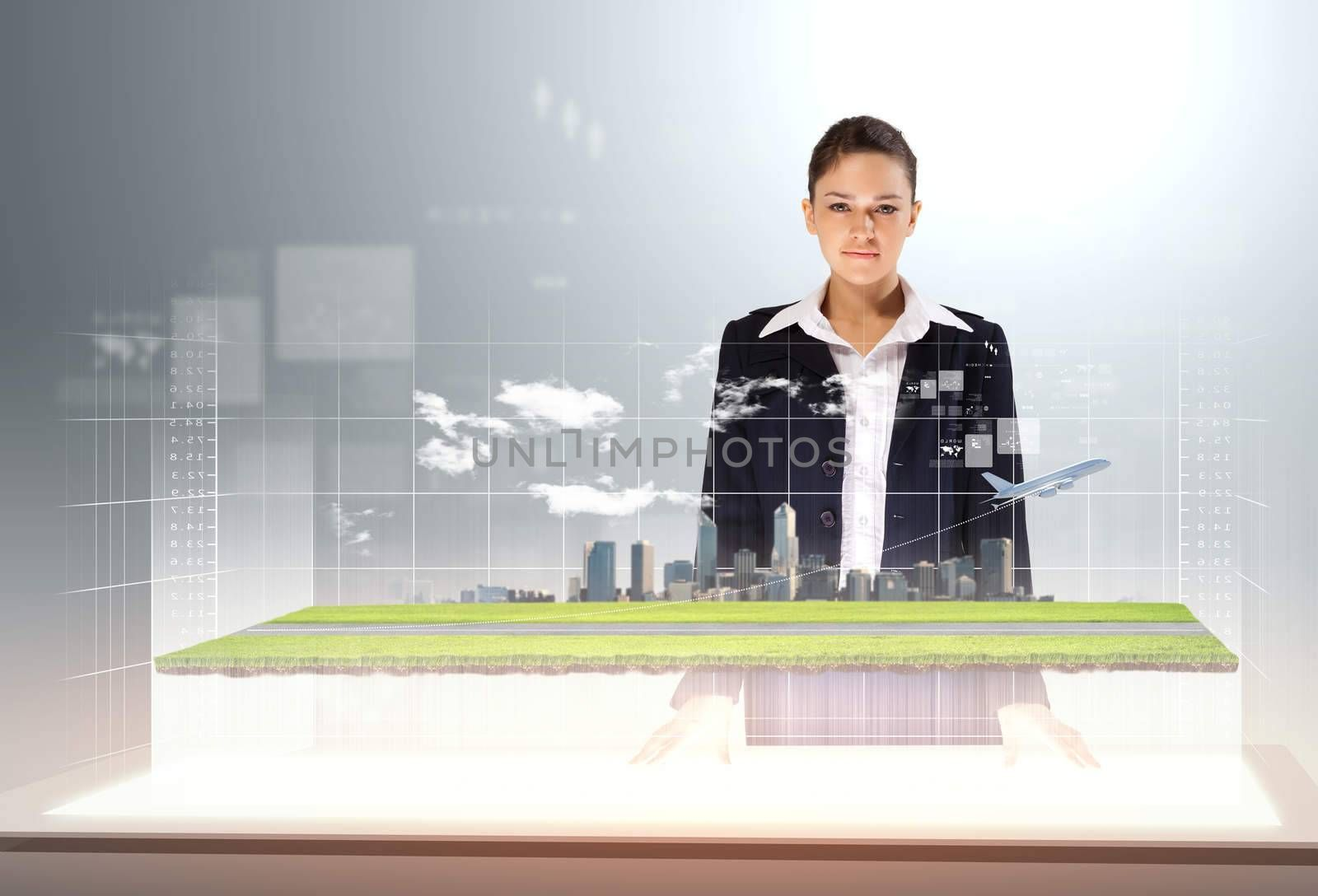 Image of young businesswoman standing against high-tech picture of airplane