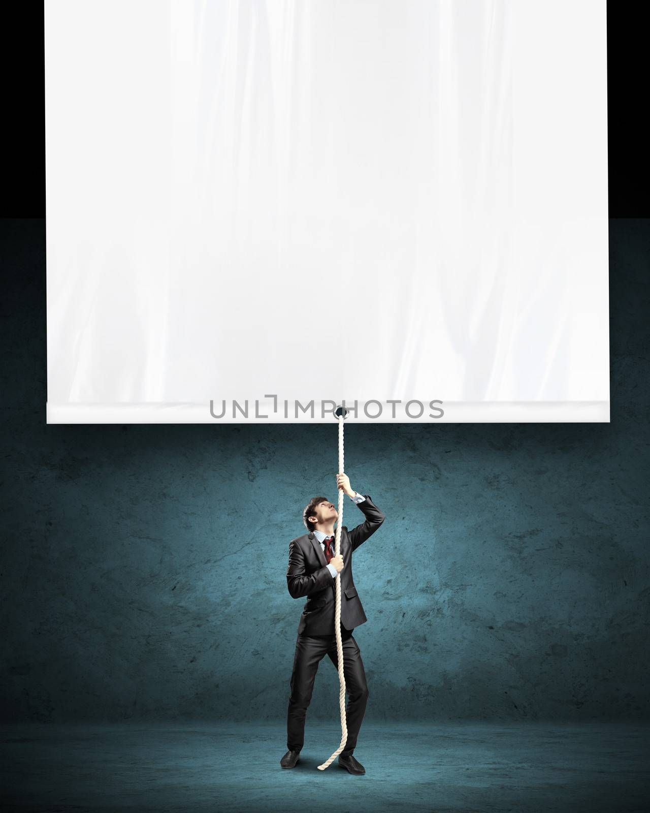 Abstract light blue background with various objects