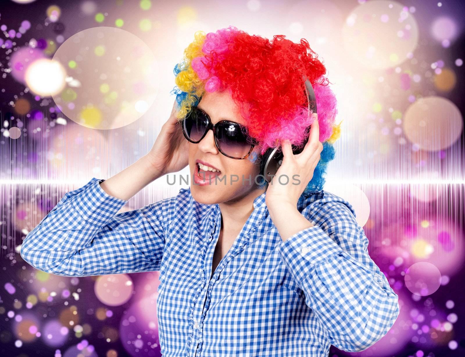 Female with headpjones listening music