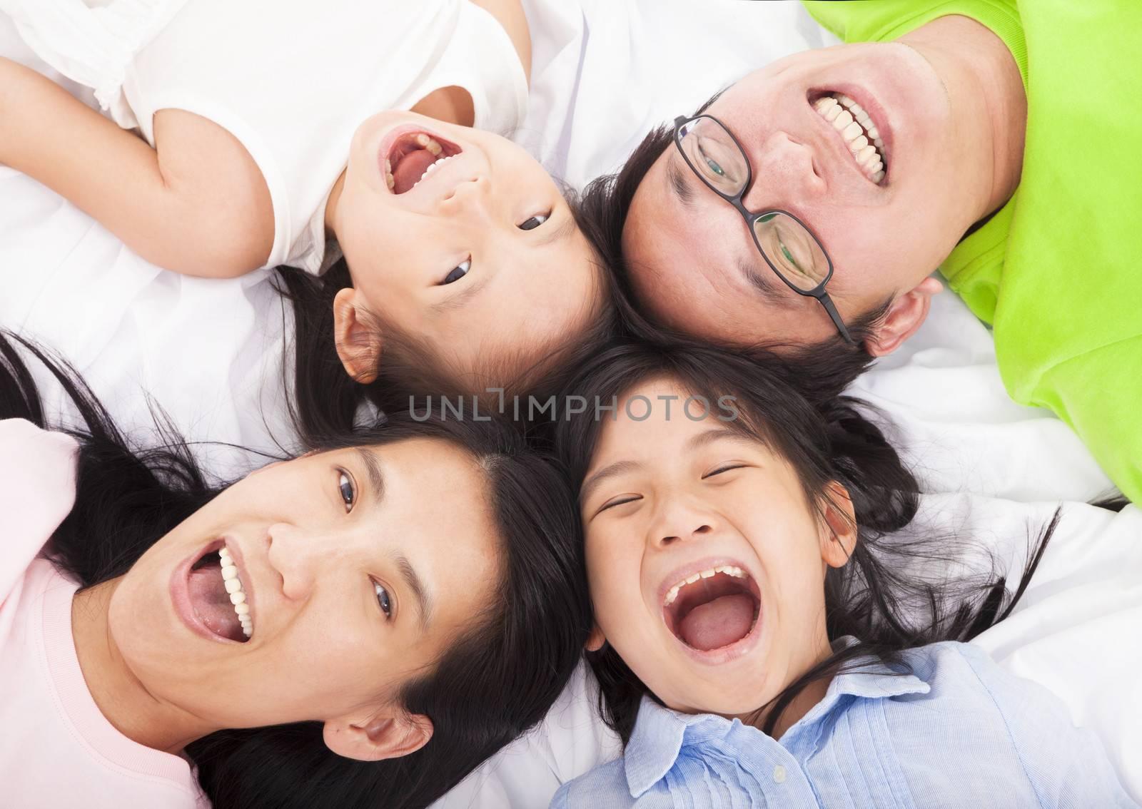 Happy   family on the floor